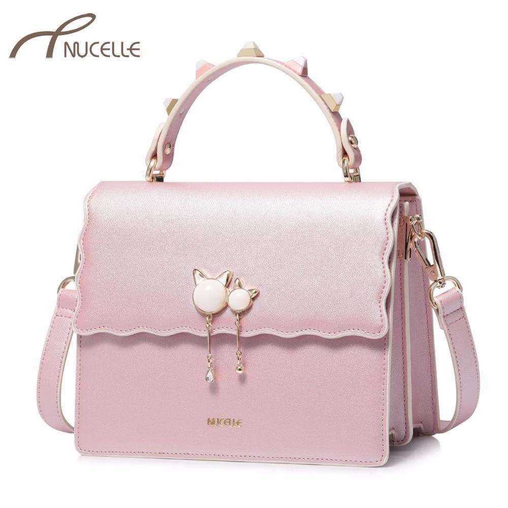 NUCELLE Brand Women's Leather Handbags Ladies Fashion Rivet Handle Messenger Tote Purse Female Flap Cat Tassel Crossbody Bags