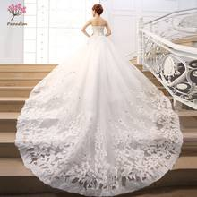 Rhinestones Satin Wedding Dresses Train Wedding Gowns Retro Wedding Dresses vestido de noiva de luxo 2017 WED90348(China)