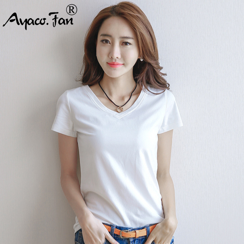 2019 Spring Summer Women Cotton T-shirt Black V-Neck Short Sleeve Female Tee Slim White T-Shirt Casual Solid Lady Tshirt Tops 2