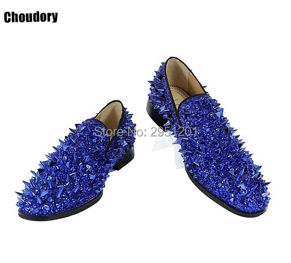 Choudory Customized Men flats shoes Luxury Shinny Glitter Gold Silver Red Spikes Shoes Slip On Loafers Rivets Men Casual Shoes choudory mens pointed toe dress shoes slip on luxury shiny spike loafers men silver flat wedding shoes