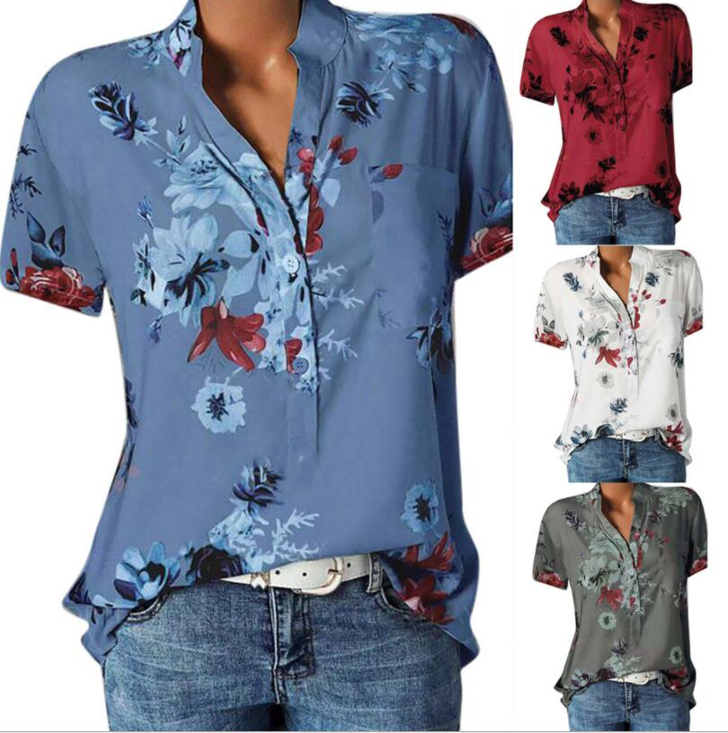 Boho Ladies Office Blouse Print Short Sleeve Top Blouse Women Summer Stand Collar Elegant Workwear Tops And Blouses Plus 5XL#c00