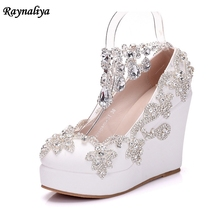 Handmade New Fashion White Rhinestone Wedges Pumps Shoes Women Sweet Wedge Shoes Wedding High Heels Party Shoes XY-A0051 цена