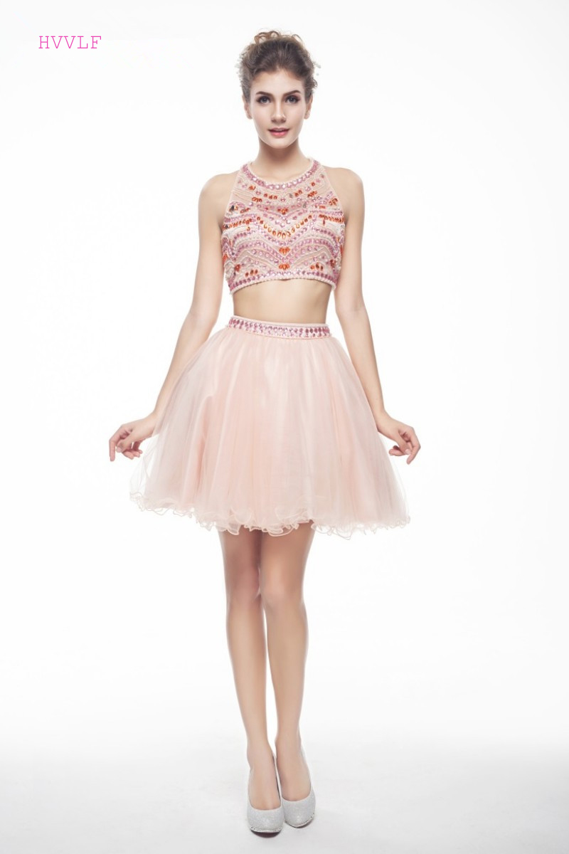 Pfirsich 2019 Homecoming Kleider A-linie Short Mini Organza Perlen Kristalle Sexy Backless Elegante Cocktail Kleider Duftendes Aroma Weddings & Events