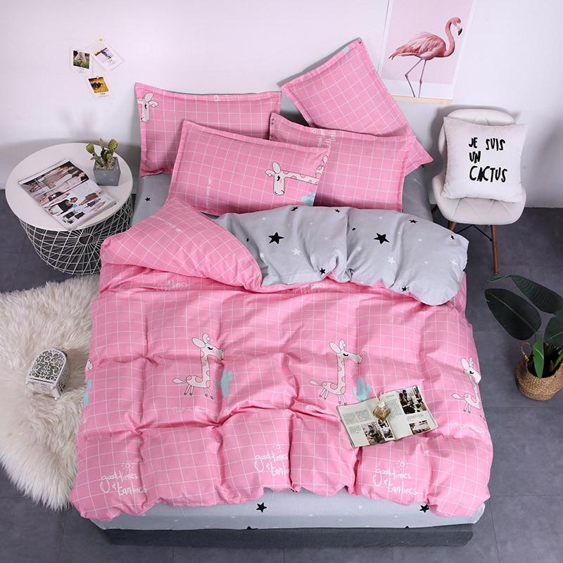 Home Textile Cartoon Animal Pattern Giraffe Bedding Sets Kids Bed Sheet Pink Duvet Cover Pillowcase 3/4Pcs Queen King Bedclothes