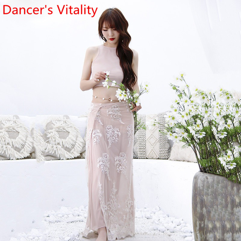 Belly Dance Practice Clothes 2019 New Sleeveless Top Embroidered Long Skirt Set Spring Summer Sexy Yarn Indian Oriental Dance