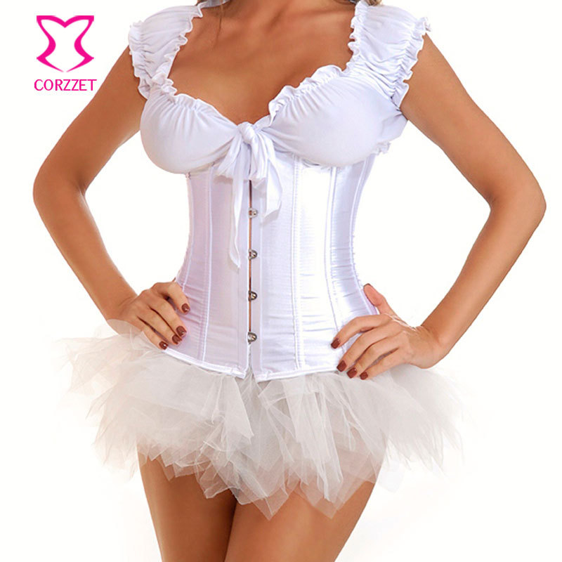 White Satin Corpetes E Espartilhos Corselet Plus Size Underbust   Corset   Wedding   Bustier   Sexy Waist Cincher Women Waist Shaper