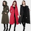 Winter Jacket Women 2016 New Fashion White Duck Down Parka Ultra Light Coat Hooded Long Thin Down Coat