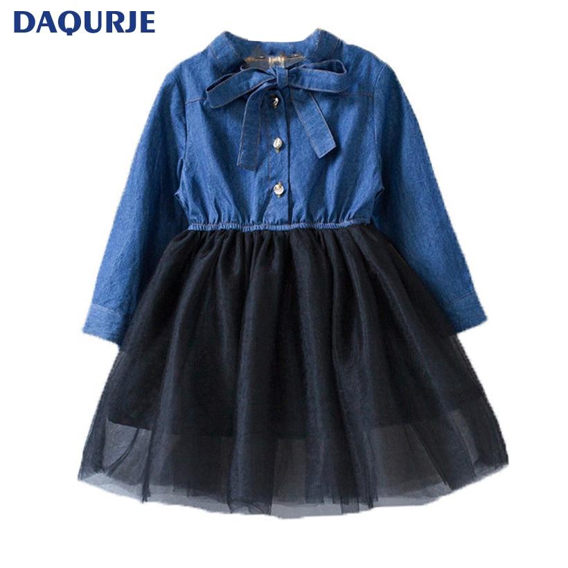 Fashion Baby Girl Clothes 2018 Autumn Girls Dress Long Sleeve Jeans Kids Princess Dresses Vestido Infantil Bow Tie Girl Clothes