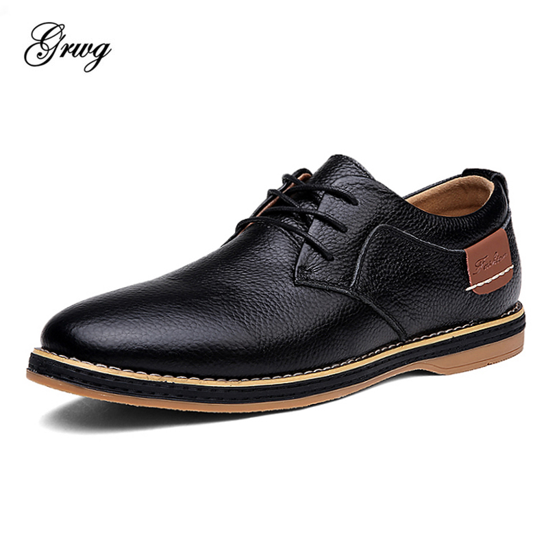 GRWG Fashion Genuine Leather Men Oxford Shoes Lace Up Casual Business Men Shoes Brand Men Wedding Shoes Men Dress Shoes new arrival high quality genuine leather men shoes lace up casual business shoes men wedding shoes fashion dress shoes size39 44