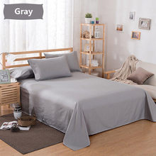 1PC Large Size 160/ 200/ 250x230 cm Bed Fitted Sheet Cover Solid Color Full Twin Full Queen King Bed Sheets(China)