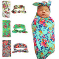 1 set Newborn Swaddle& headwrapHospital Swaddled Set Floral baby swaddle set Headband Baby photo prop Top knots hair accessories