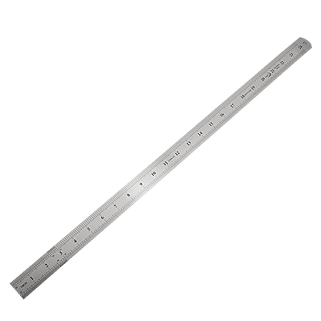 SOSW-Stainless Steel 60cm 24.6 Inch Measuring Long Straight Ruler