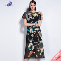 2017 New Brand Runway Dress Summer Women S Fashion Show High Beading Appliques Embroided Black Mesh