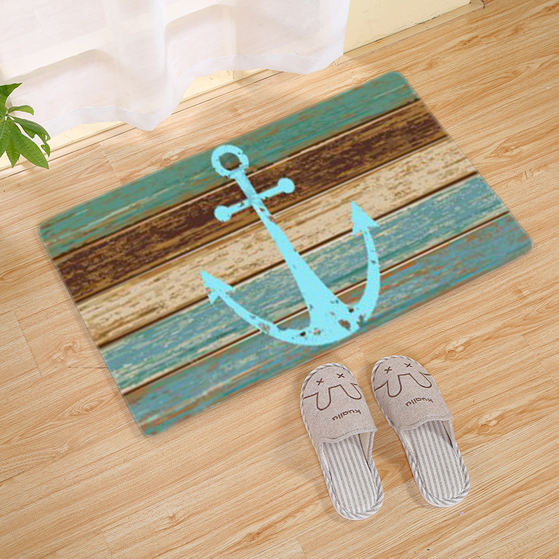 Drop Shipping Vintage Retro Nautical Anchor Rug Turquoise