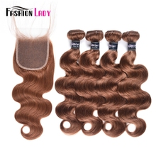 Indian-Hair Brown Bundles Closure Fashion Raw with Pre-Colored Lady 30-