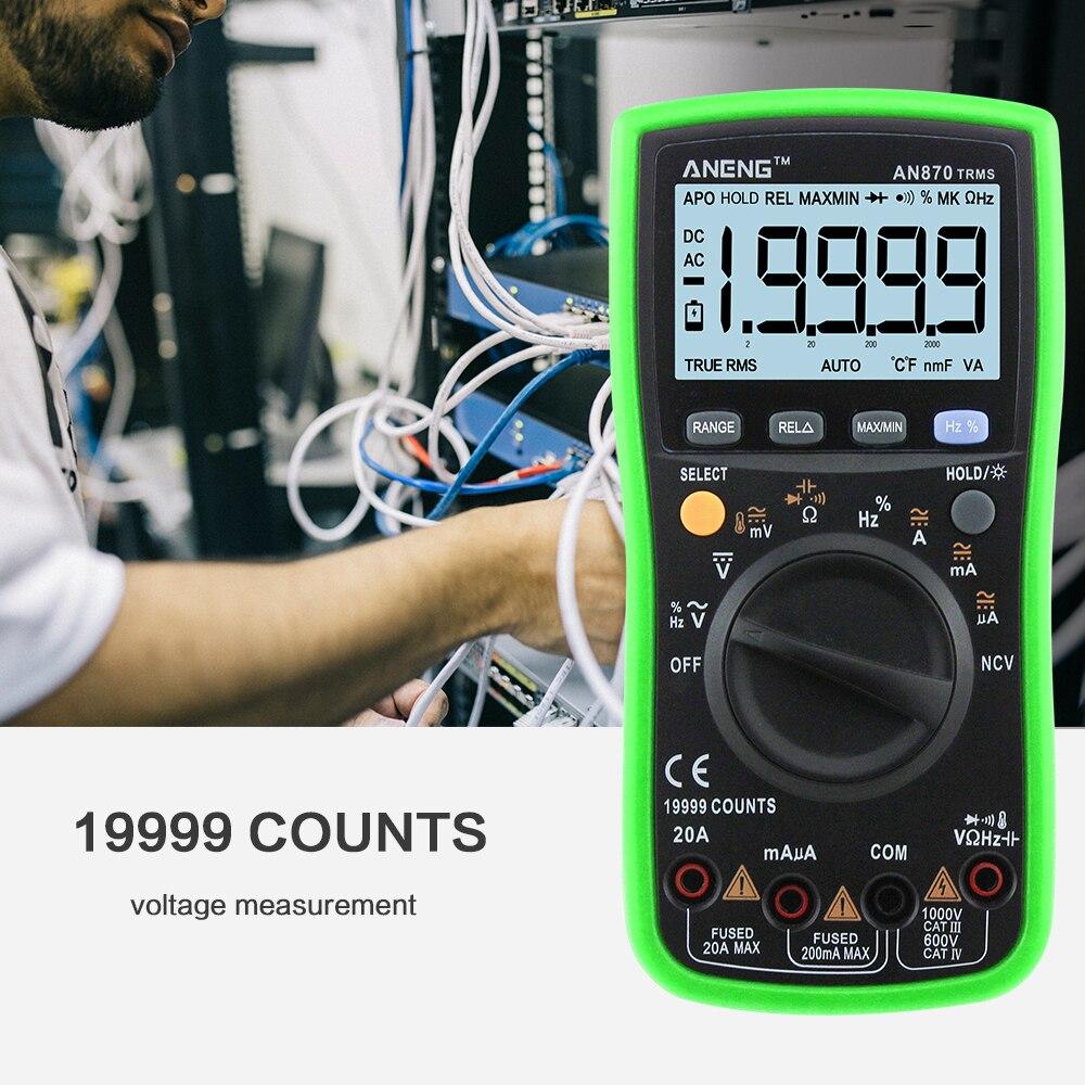 ANENG AN870 19999 Zählt Auto Range Digital Multimeter True-RMS NCV Ohmmeter AC/DC Spannung Amperemeter Aktuelle Temperatur meter