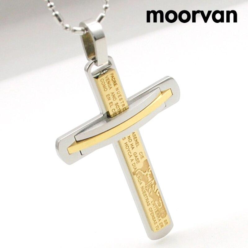 Prix pour Moorvan Grand crucifix en acier inoxydable pour hommes religion écriture jésus catholique prière bijoux croix pendentif collier VP696