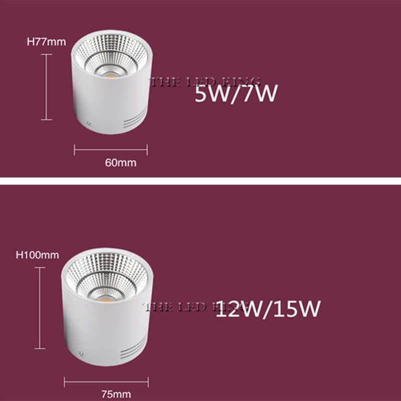 Dimmerabile led Montato Superficie da incasso lampada 5w 7W 12w 15w 18w pannocchia ha condotto il punto 220 v/110 V faretti a soffitto rotondo ha condotto la luce di pannello