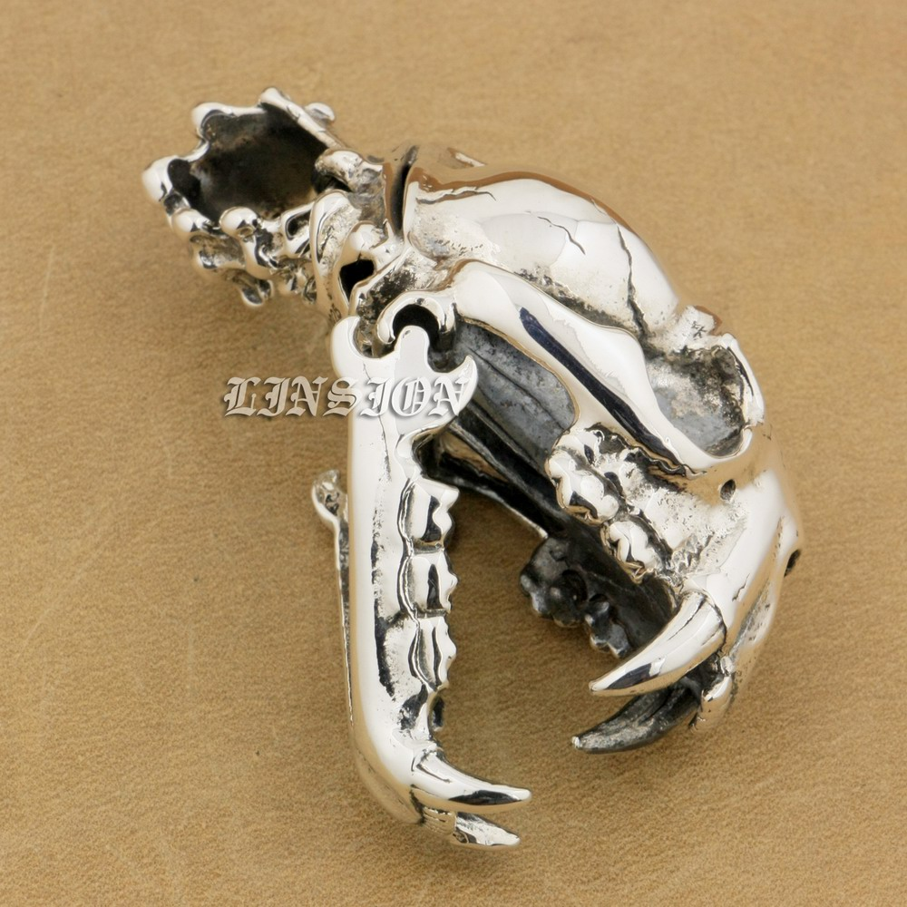 925 Sterling Silver Huge Heavy Tusk Fang Tiger Lion King Skull Mens - Bižuterie
