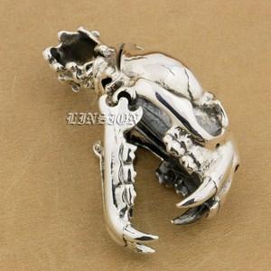 Image 1 - 925 argent Sterling énorme lourde défense Fang tigre Lion roi crâne hommes garçons Biker Rock Punk pendentif 9T024 juste pendentif