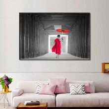 Красный зонтик монах дзен плакаты и принты Будда религия Настенная картина холст Картина маслом Скандинавское украшение дома без рамки