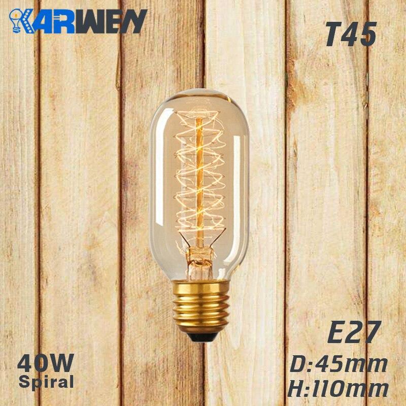 Эдисон лампы E27 40 Вт накаливания подвесной светильник в стиле ретро 220V ST64 A19 T45 T10 G80 G95 ампулы Винтаж лампа Эдисона лампа накаливания светильник лампочка - Цвет: T45 spirai