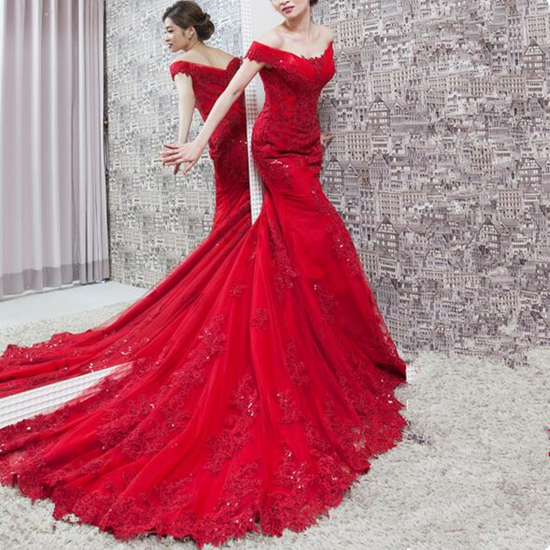 Sexy Red Mermaid   Evening     Dresses   2019 Robe De Soiree V Neck Off The shoulder Lace Appliques Celebrity Prom Gowns
