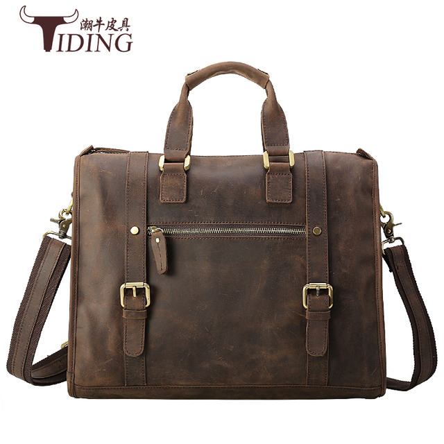 men handbags cow leather 2017 new fashion brand business dress causal vintage party man handbags genuine leather shoulder bags