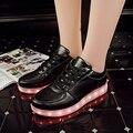 2016 Свет Мужской Femme Chaussures Zapatos Lumineuse Schoenen Белый Черный ботинки световой Взрослых Пары Повседневная Обувь Мужчины