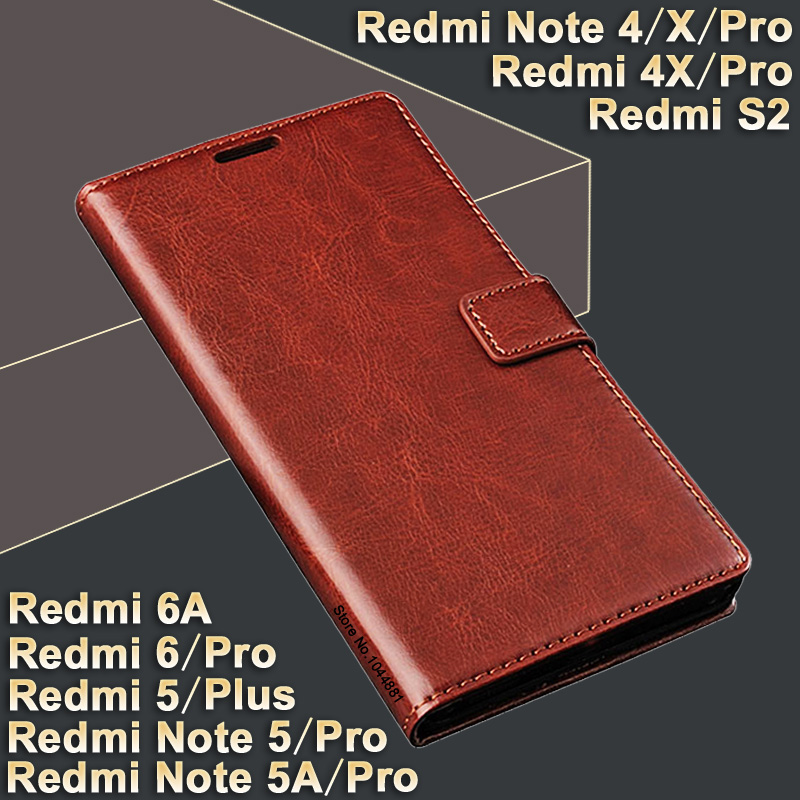Xiaomi Redmi 6 Pro Case 6A / S2 Leather Crazy Horse Case For Xiaomi Redmi note 5 / 5A Pro / Redmi5 Plus Νέο Xiaomi Redmi note 4 Pro / 4x