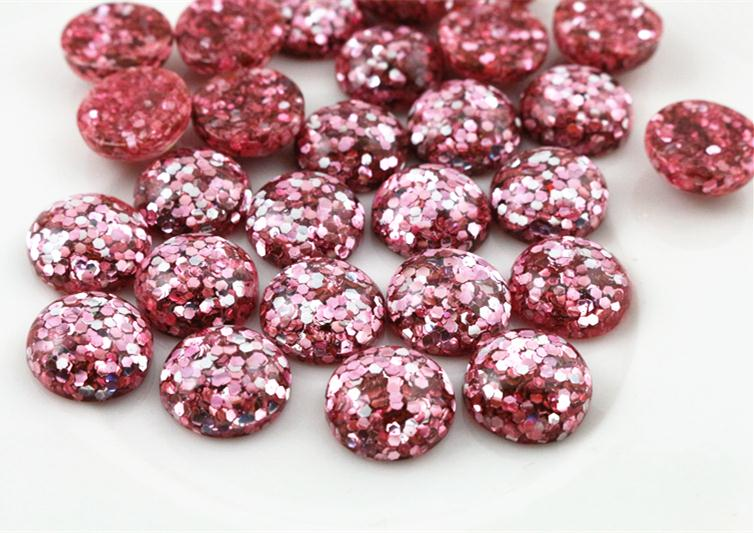 New Fashion 40pcs 12mm Pink Color Flat Back Resin Cabochons Cameo  G5-03