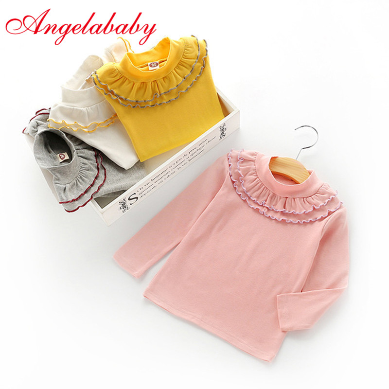 Tops T-Shirts Long-Sleeve Toddler Autumn Girls Baby Princess Lace Solid Round-Neck
