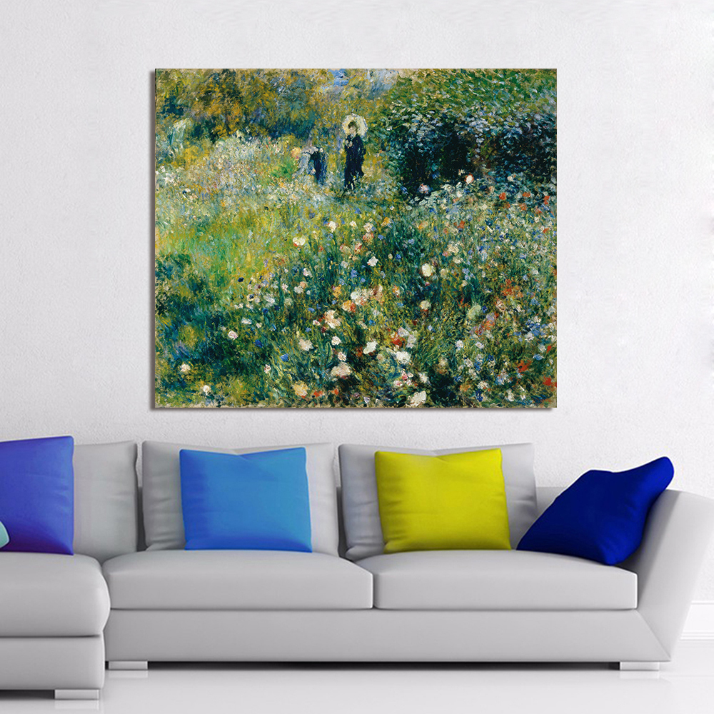 Impressionism Oil Painting Renoir Woman With A Parasol In Garden Home Decor Wall Pictures For Living Room Canvas Art