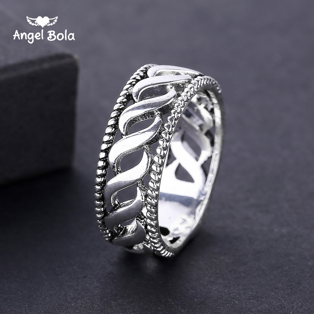 Charms Vintage Punk Rock Buddha Rings for Women Ancient Silver Color Midi Rotating Decorative Pattern Lucky Gift Women Jewelry