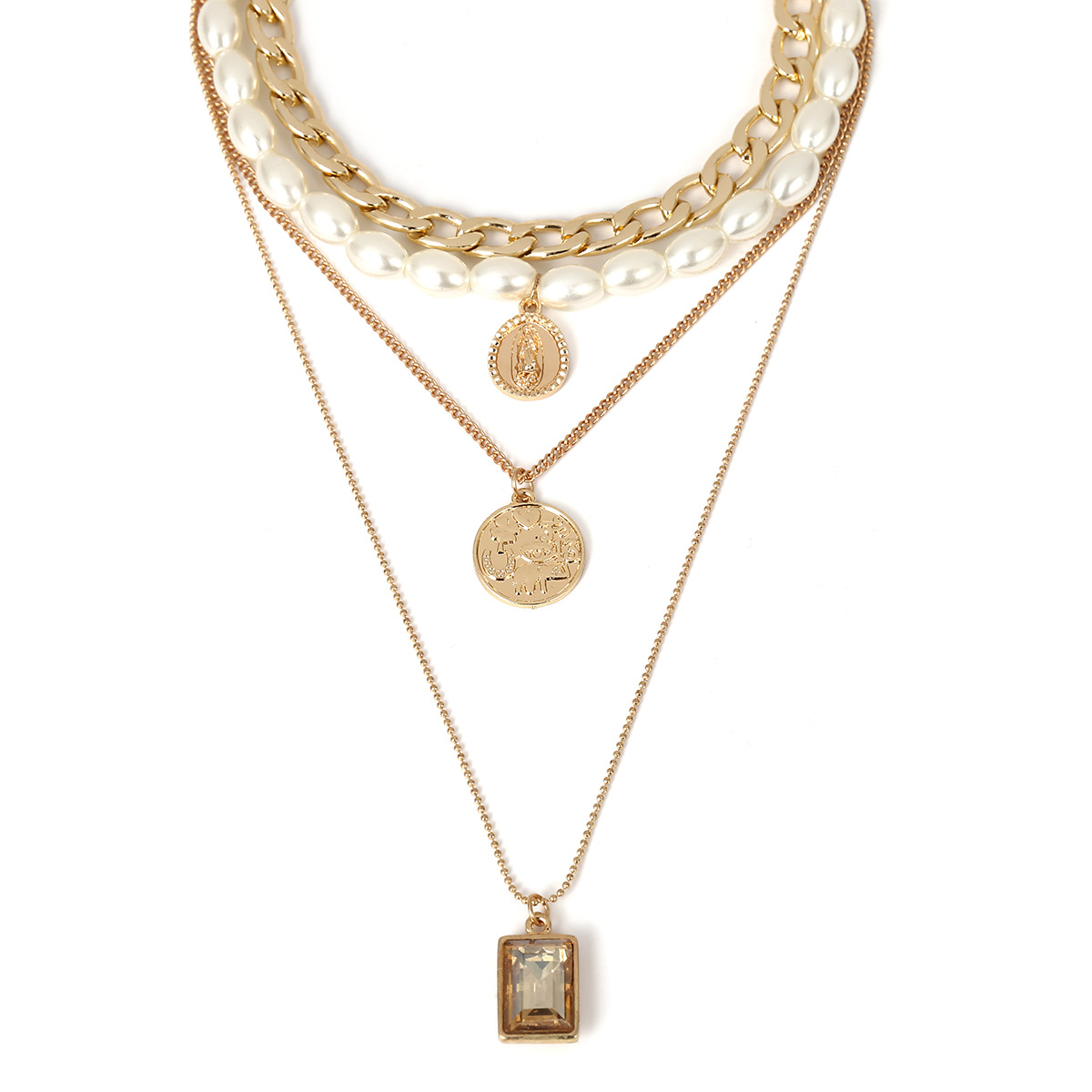 1ab1b7f2f4661 US $3.99 18% OFF|UOTOP Vintage Multilayer Pendant Necklace for Women Choker  Chain Imitation Pearl Necklace With Coin Charm Ladies Jewelry Bijoux-in ...