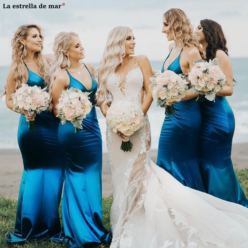 Simple Designed New   Bridesmaid     Dresses   Deep V Neck Backless Maid of Honor Gowns Sheath Floor Length Mermaid Wedding Guest   Dress
