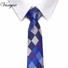 High-grade Diamond plaid  Mens Colourful Tie Ties Necktie Narrow Paisley Skinny Cravate Thick Neckties extra long size