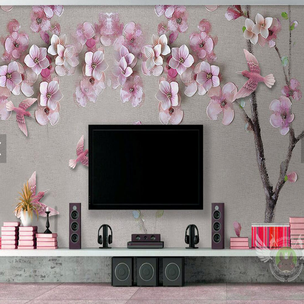 Peach Blossom Floral Wallpaper Photo Mural Wall Paper Rolls Living RoomTV Background Wall Papers Home Decor 3d Home Improvement