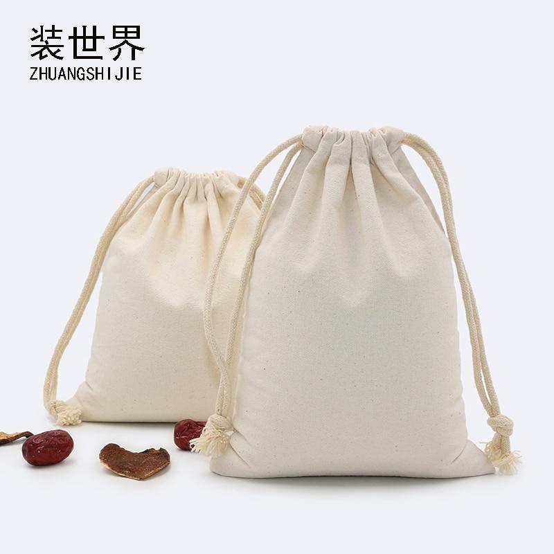 24.5*41cm Multi-purpose Wholesale 260g Cotton Canvas Drawstring Bag Custom Logo Print Food  Candies Packing Christmas Gift Bag