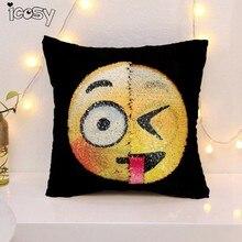 2017 DIY changable face emoji decorative pillowcase sequin cojines almofadas emoji smiley face pillow sofa home decor