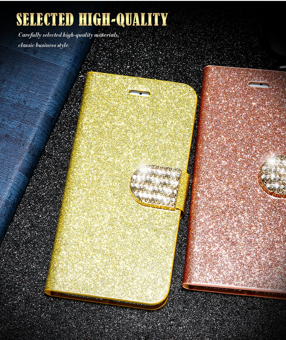FLOVEME Luxury Bling Diamond Glitter Flip Case for Apple iphone 6 6S 7  Plus 5.5 Leather Girl Bag Wallet Stand Rhinestone Cover (2)