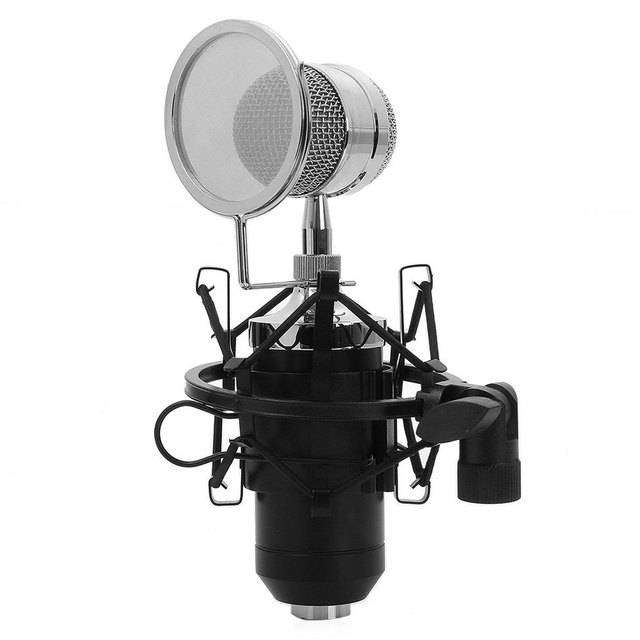 BM - 8000 Professional Sound Studio Recording Condenser Microphone with 3.5mm Plug Stand Holder Black Color 2016 New Arrival