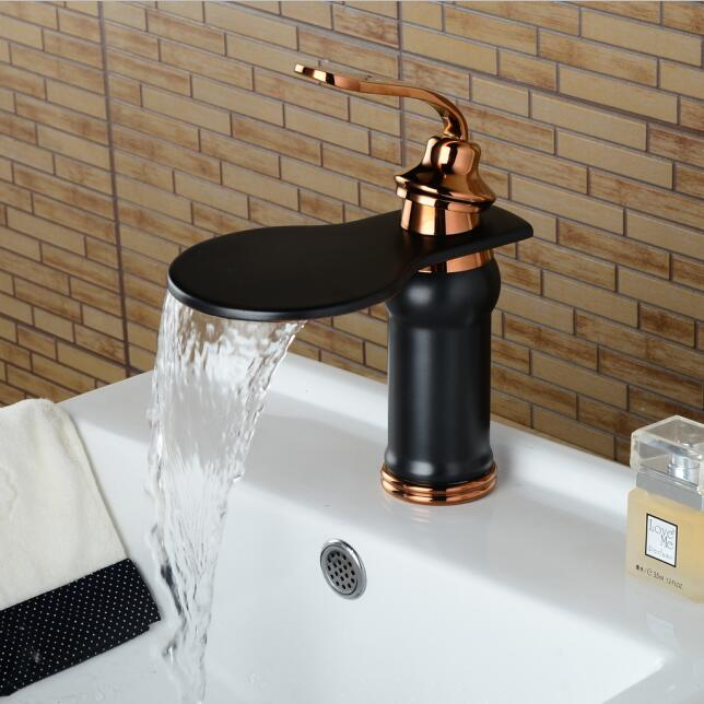 Black waterfall faucet wash basin basin faucet waterfall Black faucet bathroom sink tap cold and hot mixer tap basin mixer tap european style hot and cold basin faucet black faucet black ancient stage basin hot and cold waterfall faucet lu41223