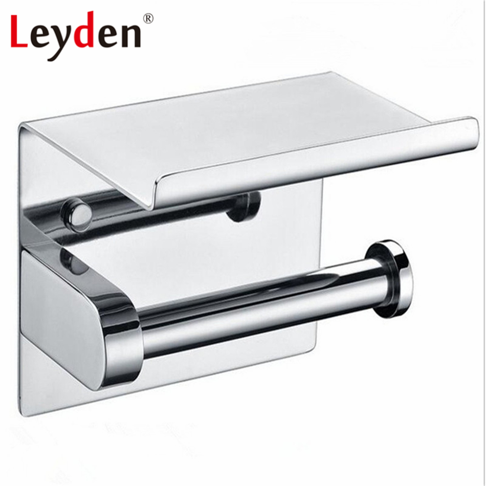 Leyden Stainless Steel Polished Chrome Wall Mounted Toilet Paper Holder with Mobile Phone Storage Shelf Bathroom Accessories modern chrome polished sus304 stainless steel toilet paper holder with cover wall mounted bathroom hardware sets wd51