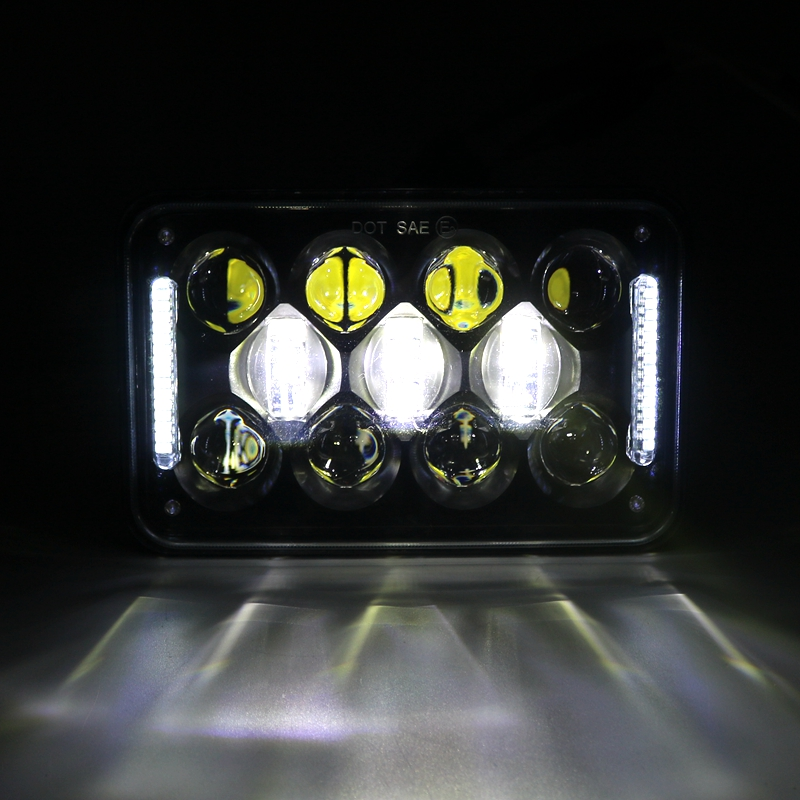 Square 4X6 Inch LED Headlights Replacement for GMC Ford Chevrolet Trucks 4 x 6'' High/Low Beam With Parking Light