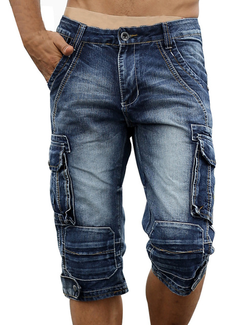 Jeans Men Shorts Biker Washed Military-Style Vintage-Acid Cargo Denim Summer Fashion title=