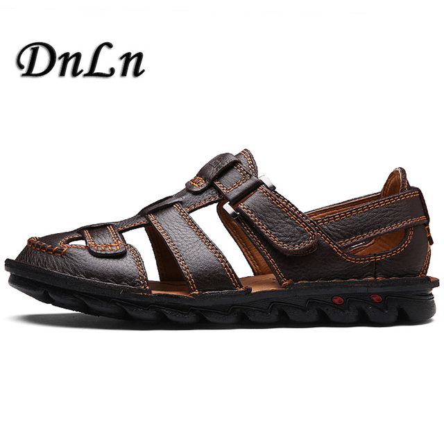 396bcb1e6 Summer Genuine Leather Sandals Men Casual Shoes sneakers Outdoor Beach  Shoes Native Male Rubber Sole Sandals Sport D50