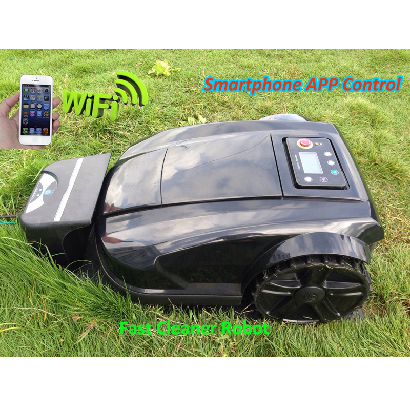 Smartphone WIFI App Gyroscope function Robot Automatic Lawn Mower S520 With Schedule,Range function,Subarea,Language optional newest wifi app smartphone wireless remote control lawn mower robot with water proofed charger range subarea compass functions