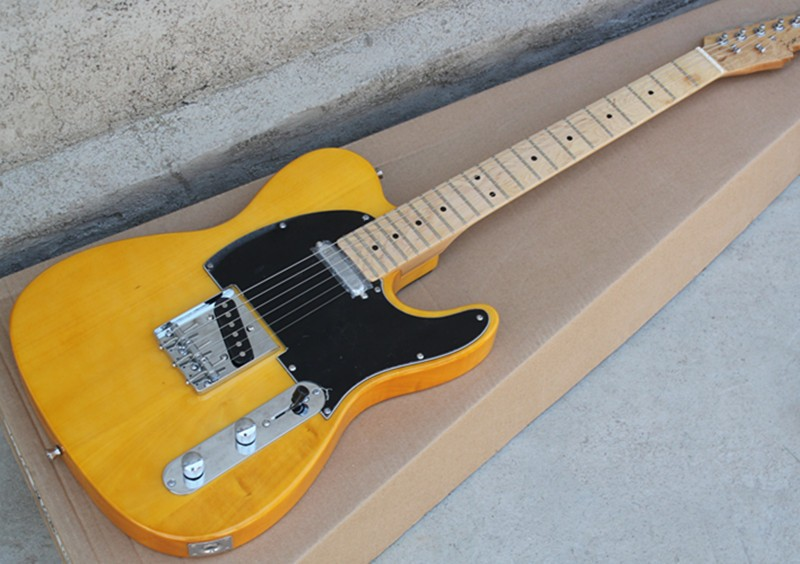 Special price Wholesale Factory custom yellow body electric guitar with black pickguard,chrome hardware,can be customized    Special price Wholesale Factory custom yellow body electric guitar with black pickguard,chrome hardware,can be customized