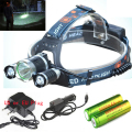 6000LM 3XCREE XM-L T6+2x R5  LED Headlamp 4 Mode Head Torch Light Lamp+ Charger/Car charger+2x Rechargeable 18650 battery